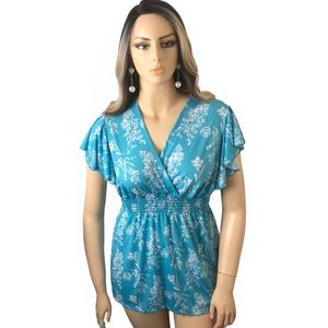 Jon & Anna Floral Stretch Turquoise & White Top